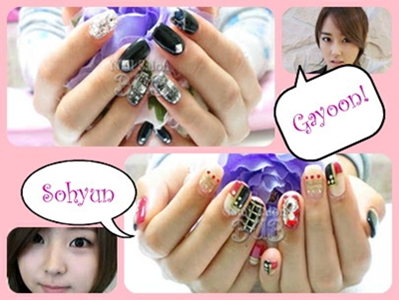 4minute gayoon and sohyun nail art